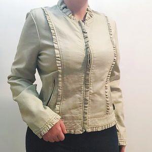 CR Pure Design tan faux leather zip up moto jacket